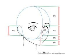 Drawing proportions of anime view female face - Copic . - Drawing proportions of the female face of anime view – Copic marker – # - Face Proportions Drawing, Face Drawing Reference, Drawing Heads, Drawing Faces, Eye Drawings, Anatomy Reference, Pose Reference, Pencil Drawings, Anime Face Drawing