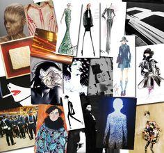 Moodboard com as inspirações e os croquis dos estilistas na NYFW: uniformes, androginias e ícones dos 80's prometem ser tendências (Foto: Reprodução)