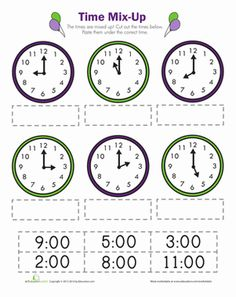 First Grade Time Worksheets: Time Mix Up Teaching Clock, Teaching Time, Teaching Math, Teaching Spanish, Clock Worksheets, School Worksheets, Math Classroom, Kindergarten Math, Math Resources