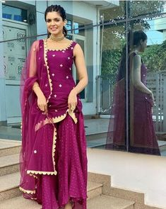 Buy Dark Magenta Color Sharara Suit by Akanksha Singh at Fresh Look Fashion Indian Gowns Dresses, Pakistani Bridal Dresses, Pakistani Dress Design, Sharara Designs, Kurti Designs Party Wear, Lehenga Designs, Indian Wedding Outfits, Indian Outfits, Lehnga Dress