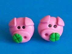 pig stud earrings polymer clay fimo handmade