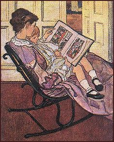 Love pictures of mothers reading to their kids. Jessie Wilcox Smith is the artist here.