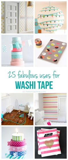 The best DIY projects & DIY ideas and tutorials: sewing, paper craft, DIY. Diy Crafts Ideas 25 excellent uses for washi tape I Heart Nap Time Cute Crafts, Crafts To Do, Crafts For Kids, Paper Crafts, Teen Crafts, Washi Tape Diy, Masking Tape, Duct Tape, Washi Tapes