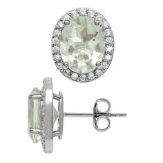 3.28ct. 9x7MM Natural Oval Shape Green Amethyst 925 Sterling Silver Halo Stud Earrings *** Click image to review more details. (This is an affiliate link and I receive a commission for the sales)
