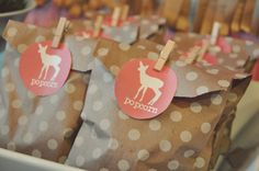 Simple party favor - popcorn in cute paper bags!