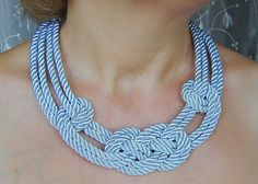 Light blue sailor knot necklace Silk rope by agatsknitting on Etsy