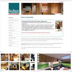 Internetseite Kubus Reisemobile / Leistungen: Webdesign, Technische Umsetzung / Techniken: PHP, Javascript, XHTML, CSS