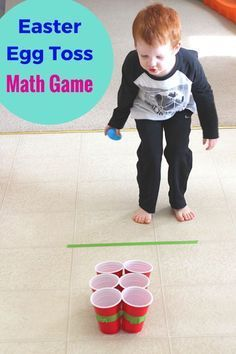 This Easter egg toss math game is a great way to practice addition!