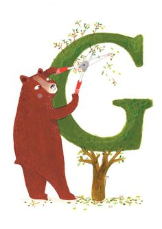 adorable for a child's bedroom decor - Personalised Topiary Bear - Print from my illustration. $30.00, via Etsy.