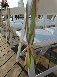 10 Starfish and Ribbon Aisle Markers by rosco254 on Etsy, $38.00