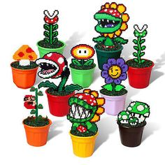 10 Super Mario Bros Figures in Pots Pixel Beads Handmade Toy 8 bit Decoration - Best DIY and Crafts 2019 Hama Beads Mario, Diy Perler Beads, Pearler Beads, Perler Bead Designs, Pearler Bead Patterns, Perler Patterns, Art Perle, Pixel Beads, 8bit Art