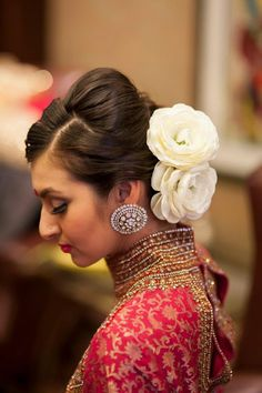 Beehive Floral Chignon Look, a new Indian bridal hairstyle. Indian Wedding Hairstyles, Retro Hairstyles, Bride Hairstyles, Hairstyle Ideas, Saree Hairstyles, South Asian Wedding, Asian Bridal, Sari, Inspirational Celebrities