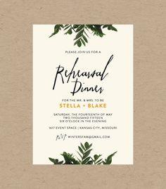 Botanical Rehearsal Dinner Invitation // 10 5x7 Printed Sets // Botanical Wedding, Modern Wedding, Minimalistic Wedding