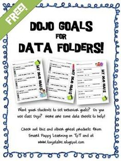 Dojo Data Papers CLASS DOJO DATA PAPERS - Dojo (disambiguation) A dōjō is a hall or space for immersive learning or meditation (typically in martial arts, but increasingly in other fields, such as software development). Dojo may also refer to: Student Data Folders, Data Binders, Data Notebooks, Student Goals, 3rd Grade Classroom, School Classroom, Classroom Ideas, Classroom Organization, Classroom Behavior Management