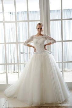 Hot Sale! NEW Sexy Plus Size Wedding Dresses A-Line Bateau 3/4 Long sleeve Lace Embroidery Wedding Dress Gowns