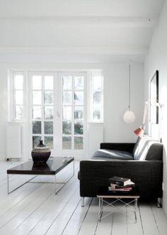 White wooden floor.