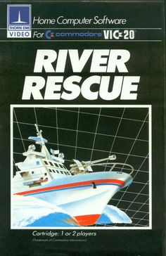 "Box art for ""River Rescue,"" a simple action game released for the Commodore VIC-20 and other personal computers by Thorn EMI Video Programmes in 1982"