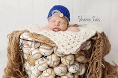 Cute photo idea for Gibson! Look at the crocheted hat....it looks like a baseball cap turned backwards!