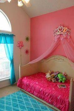 Love this princess bedroom! BUT I'd change the color scheme. Toddler Rooms, Toddler Bed, Girls Bedroom, Bedroom Decor, Bedroom Ideas, Bedroom Makeovers, Design Bedroom, Nursery Ideas, Princess Room
