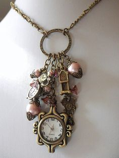 Boho gypsy necklace, Gypsy jewelry, Bohemian necklace, Romantic watch charm necklace, Vintage look necklace OOAK Necklace