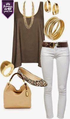 Me encanta este outfit, las tonalidades en café siempre son la mejor opción para un atuendo casual. Loa zapatos me encantan por que le dan un toque divertido. #Princesasde40 #Ropa #Estilo