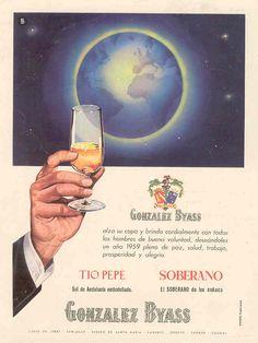 1959: Felicitación de Tio Pepe y soberano de González Byass con Bola del Mundo.