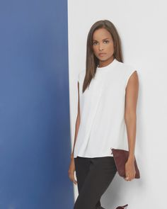 Dropped hem pleated top - Cream | Tops & Tees | Ted Baker