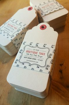 WIN a set of these pretty blank Boutique Tags for your business! We're giving away 3 of these cute 25 packs. Produced on extra thick 62pt Creme stock with handmade red paper reinforcement rings by Jukebox Print. LIKE this pin by December 10th 2014 to be entered to win. #jukeboxprint