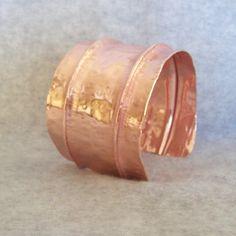 Copper Fold Formed Cuff Bracelet Natural Copper Cuff by gbjewel