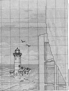Solo Patrones Punto Cruz View of Lighthouse Cross Stitch Sea, Cross Stitch Geometric, Easy Cross Stitch Patterns, Beaded Cross Stitch, Simple Cross Stitch, Cross Stitch Flowers, Cross Stitch Charts, Cross Stitch Designs, Cross Stitch Embroidery