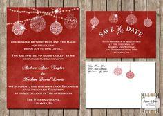 Christmas Wedding Invitation Suite Red por SugSpcInvitations