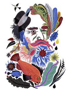 Ernst Haeckel by Carolin Loebbert on Mammoth Ernst Haeckel, Art And Illustration, Illustrations, You Draw, Medium Art, Fine Art Photography, Art Images, Collage Art, Collages