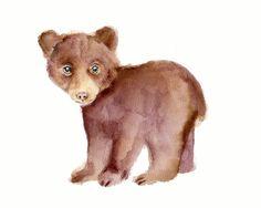 Bear Cub Watercolor Nursery Print 8 X 10 by Marysflowergarden, $12.00