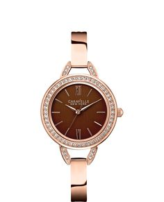 Ladies Rose-Tone Stainless Steel Bracelet Band Caravelle by New York Watch with Accent Crystals. Designed in New York, Made by Bulova. Parker Jewelers. Salem, NJ. (856) 935-3400.