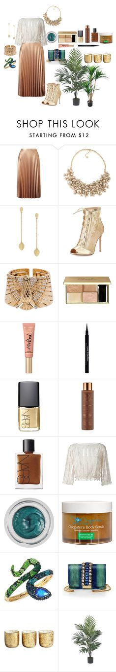 """""""modern Cleopatra"""" by cristinachioseaua ❤ liked on Polyvore featuring Miss Selfridge, Carolee, Cole Haan, Gianvito Rossi, Cartier, Too Faced Cosmetics, Givenchy, NARS Cosmetics, Vita Liberata and RED Valentino"""