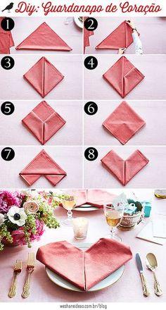guardanapo de coração, dobradura guardanapo, dia dos namorados, valentines day, napkin fold