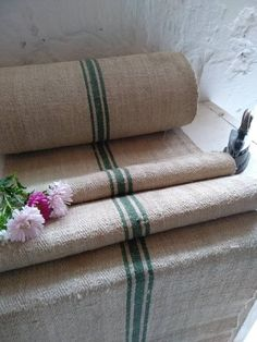 Your place to buy and sell all things handmade Farmhouse Table Runners, Making A Bench, Hemp Fabric, Grain Sack, Weaving Techniques, Green Stripes, True Colors, Upholstery, Hand Weaving