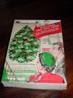 Unusual Vintage Christmas Tree Door Cover W/Lights & Decorations In Original Box!!!