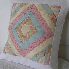 https://flic.kr/p/79PAxC | fallcow 009 | Shabby chic patchwork pillow cover featuring fabric from Moda's Aviary line designed by 3 Sisters
