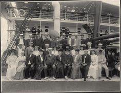 Passengers aboard steamship Manchuria. Photo by Burr McIntosh