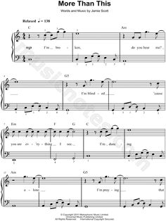 "One Direction ""More Than This"" Sheet Music (Easy Piano) - Download & Print"