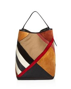 0c99464f1aff Burberry Ashby Medium Canvas Check Patchwork Hobo Handbags - Bloomingdale s