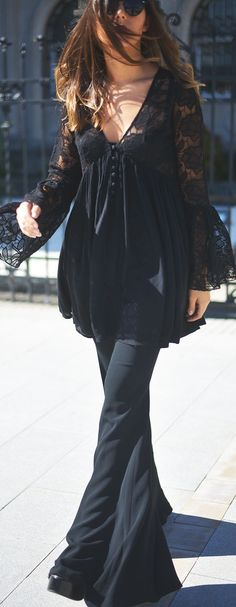 Black Lace Boho Dress On Flares Fall Inspo by The Fashion Through My Eyes