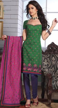 Green Cotton Embroidered Churidar Pajami Kameez