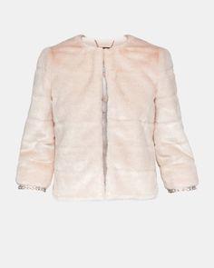 3c9fa6da5 Cropped faux fur jacket - Pale Pink