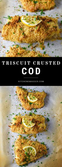 A crispy breaded, baked cod recipe made with Triscuits, Parmesan cheese, and spices.