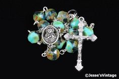 Auto Rosary Pocket Turquoise Green Czech Glass by JessesVintage