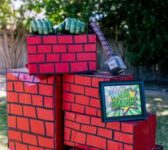 A little paint and cardboard boxes, and you can have your own Hulk Smash game for your super hero party!