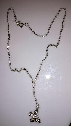 Sterling Silver butterfly   necklace ,Y necklace,butterfly  pendant , collar Mariposa de Silverandme en Etsy