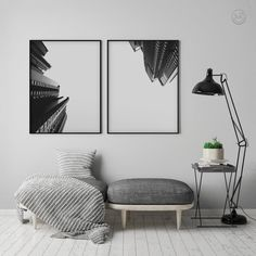 Architecture Poster Set Black and White Abstract Print Office Wall Art, Office Walls, Modern Tropical, Palm Tree Print, Black And White Abstract, Deco Design, Abstract Print, Printable Wall Art, Free Printable